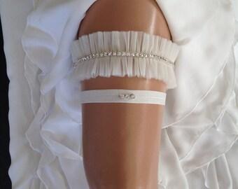 wedding garter set, tulle bridal garter set, rhinestone, silver