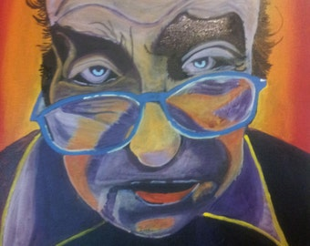 Old man with Glasses: Original Acrylic Painting on Canvas