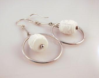 White agate loop drop earrings in sterling silver