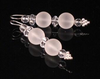 Crystal quartz drop earrings in sterling silver