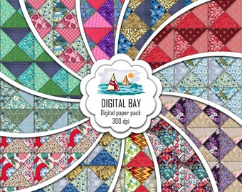 """PATCHWORK - Digital paper pack – Instant download - Scrapbooking Paper – Seamless - 12"""" x 12"""" - Personal &Commercial –Digital background"""