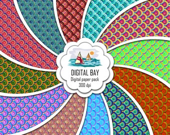 """COLORFUL TWIRLS- Digital paper pack – Instant download - Scrapbook Paper – Seamless - 12"""" x 12"""" - Commercial use –Digital background"""