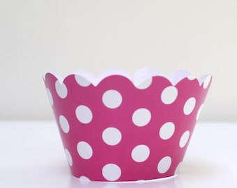 Hot Pink Polka Dot Cupcake Wrappers Pack of 12 Party Supplies