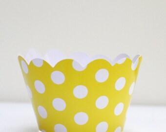 Yellow Polka Dot Cupcake Wrapper Pack of 12