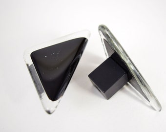 Black and clear triangle glass cabinet knobs, triangular knobs, black knobs, black glass pulls