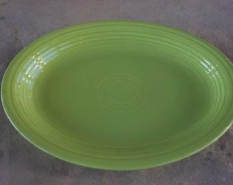 Vintage Fiesta Ware, Art Deco Pottery, Chartreuse Oval Platter, Homer Laughlin, Circa 1950s