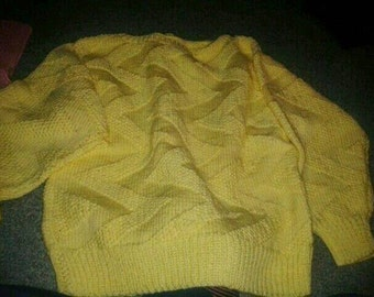 Yellow zigzag sweater acrylic for wife 36