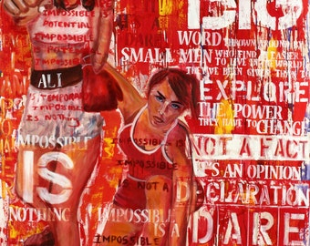 Graffiti art, Inspirational quotes, Sports Painting of Laila Ali, acrylic Painting, Contemporary, Modern, Abstract, Women boxers,Red Artwork