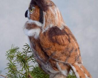 Great Horned Owl wool felted handmade bird