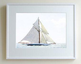 Yacht at sail number one, limited edition print of 150