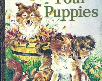 "Vintage 1960's Little Golden Book~Four Puppies (""A"") 1st Edition!"