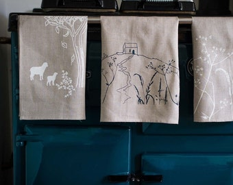 Hand Printed Linen Tea Towel, Tea Cloth, Glass Cloth from The Rame Head Collection