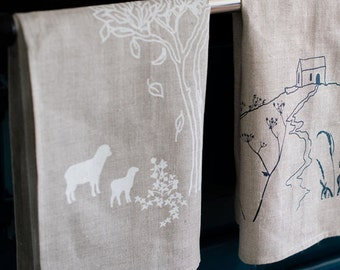 Hand Printed Linen Tea Towel, Tea Cloth, Glass Cloth from The Pastoral Collection