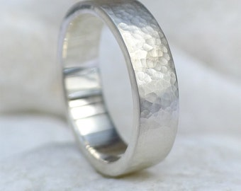Mens Hammered Ring in Sterling Silver - Handmade to Size