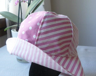 Baby, girl, pastel colors, pink and white, summer hat