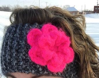 Cute & Cozy Handmade Knit Flower Headband Ear Warmer