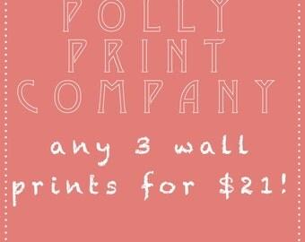 Set of any 3 wall prints