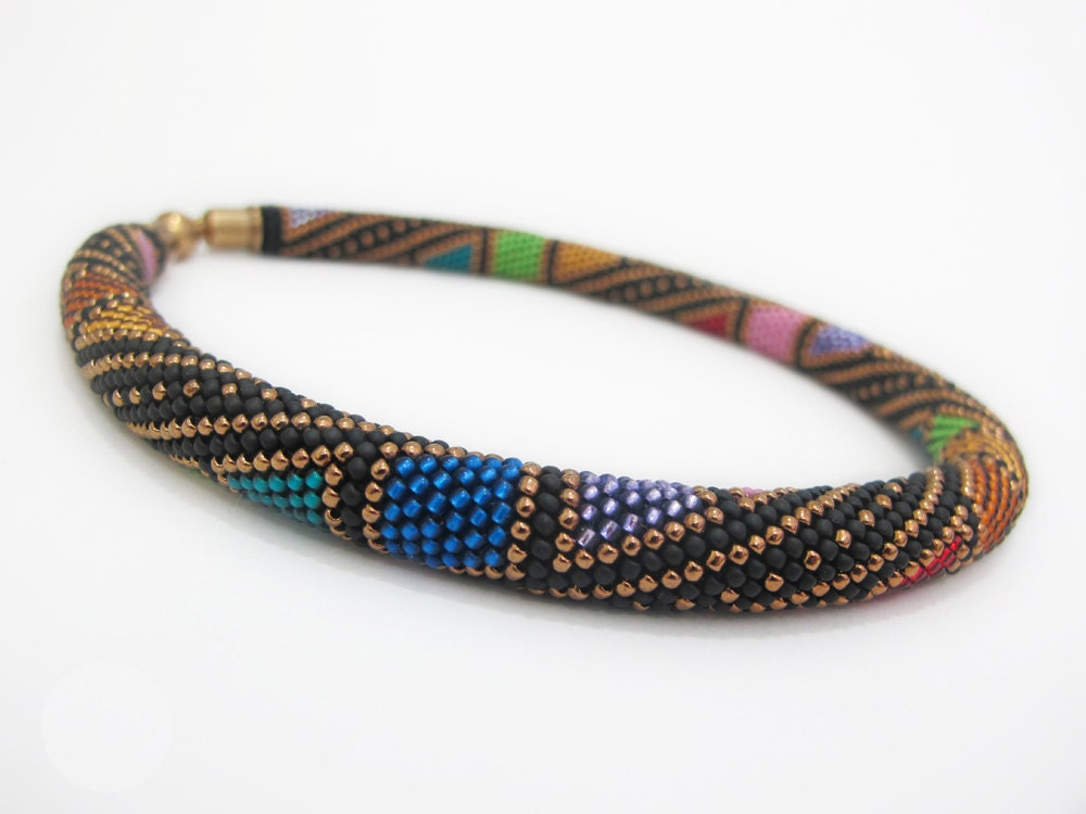 colorful beaded necklace beaded crochet necklace beaded