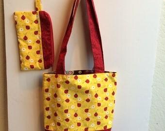 Reversible Ladybug and Owl Handbag with two clutches