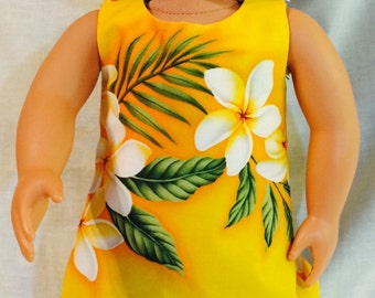 Hawaiian print dress for American Girl doll or similar size.
