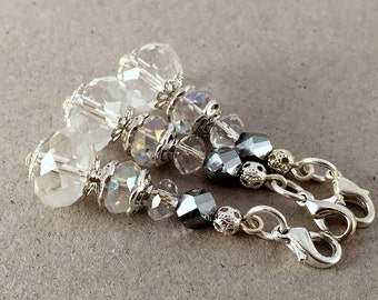 Crystal Keychain, Small Keychain,Crystal Wedding Favors,Communion Favors,White party favors,Clip on charm,White bag charm,Beaded key chain