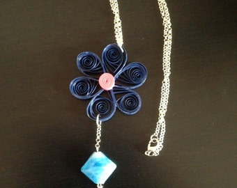 Paper necklace with blue stone