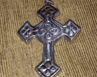 Vintage Cast Metal Cross Ornament Decoration