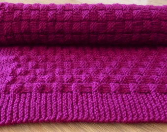 Knitted baby blanket, Basket weave pattern, Hand knitted, Mauve Pink Yarn