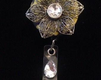 Metal Rhinestone Flower-Nurse Retractable ID Badge Reel/ RN Badge Holder/Doctor Badge Reel/Nurse Badge Holder/Nursing Student Gift