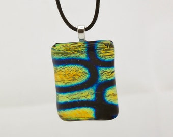 "Dichroic ""Sidewinder"" fused rainbow glass & 925 sterling silver pendant on cotton necklace or silver chain"