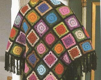 Easy Vintage Crochet Squares Shawl PDF Pattern