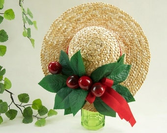 Fascinator Vintage Mini Strawhat Cherries