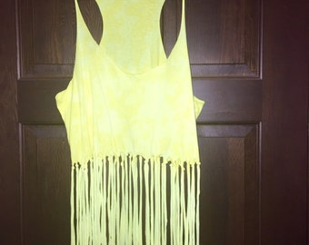 Fringed & bleached yellow tank top