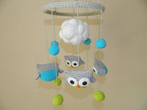 Crochet Baby Mobile Patterns : Owl Crochet Baby Crib Mobile Organic Baby Toy Cute by ...
