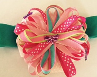 Teal Elastic Headband with Pink Bow - Dragonfly Accent