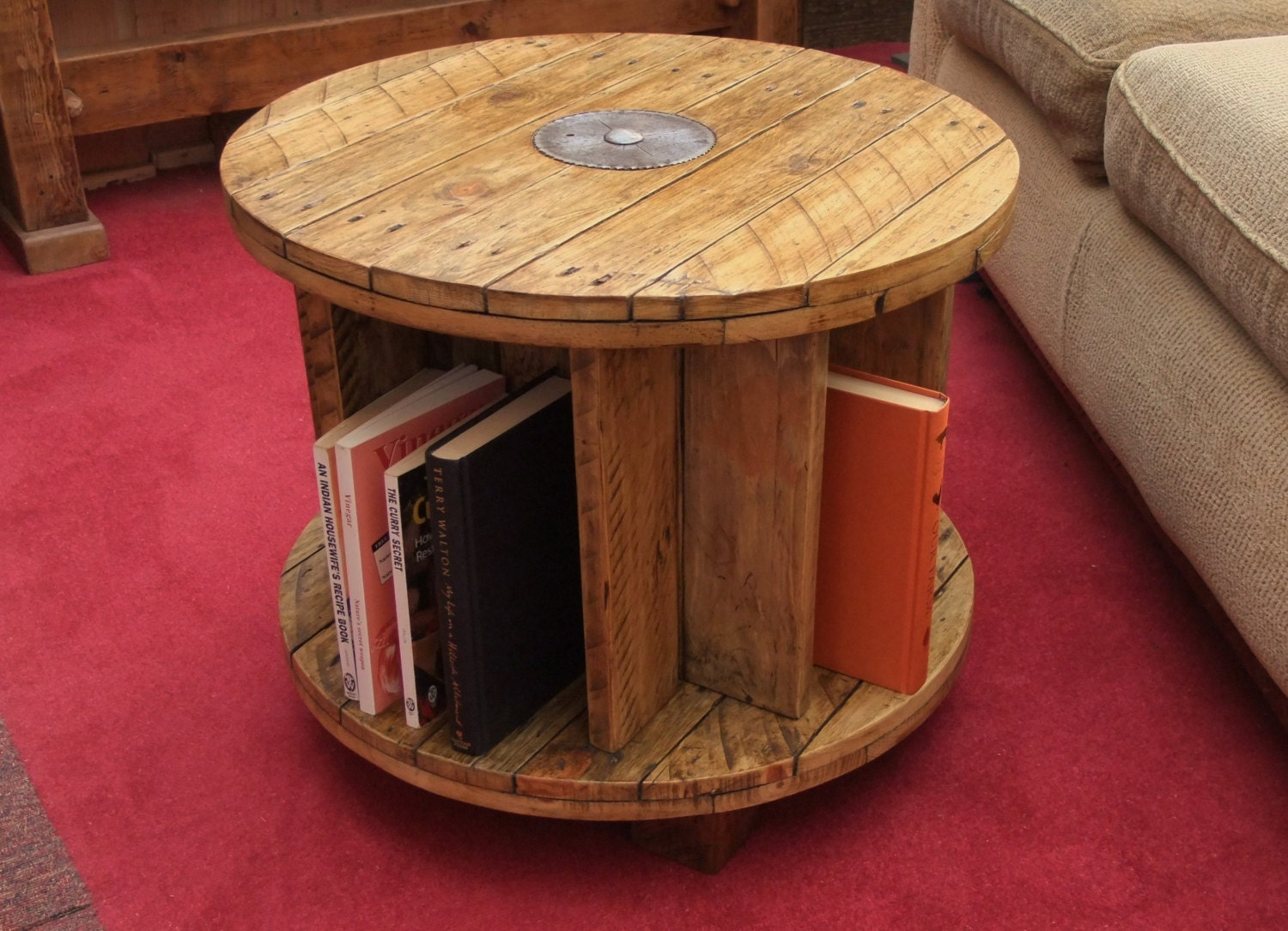 Handmade Reclaimed Wood Coffee Table Bookcase By