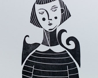 Like a Fish out of Water, Limited Edition Linocut Print, Fish