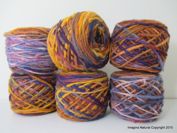 Limited Edition Handspun Hand dyed yarn Bulky Chilean Wool Knitting Multicolour Araucania Chunky Skein Purple Yellow Blue Violet 100g 3.5oz