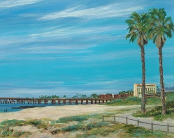 Beach print, Ventura Pier,Morning Stroll, from a original painting by Tina O'Brien
