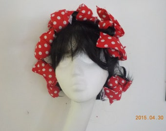 50's style padded hair curlers rag rollers red white spot wired fabric bendies