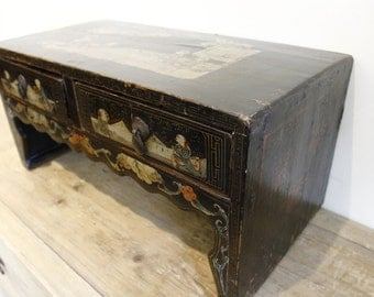 Antique Black Lacquer Tea Table, Hand Painted Vintage Chinese Tea Table- Asian Furniture Strange Imports