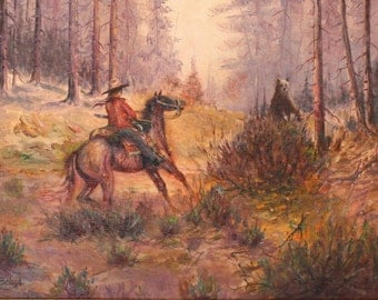 Tom Balazs, Oil on Artist board Western Landscape, Vintage Western Art, Signed Original Art