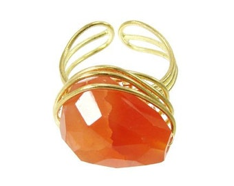 Agate Ring - orange - Free shipping!