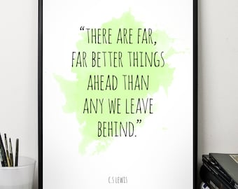 There are far ..., C S Lewis, Quote , Alternative Watercolor Poster, Wall art quote, Motivational quote, Inspirational quote,