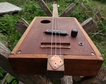 Unique cigar box electric slide guitar, handbuilt from reclaimed vintage materials