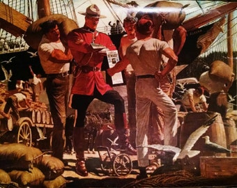 """Arnold Friberg print. """"Trails End"""" Beautiful lithograph from the 1930s Canadian Mountie"""