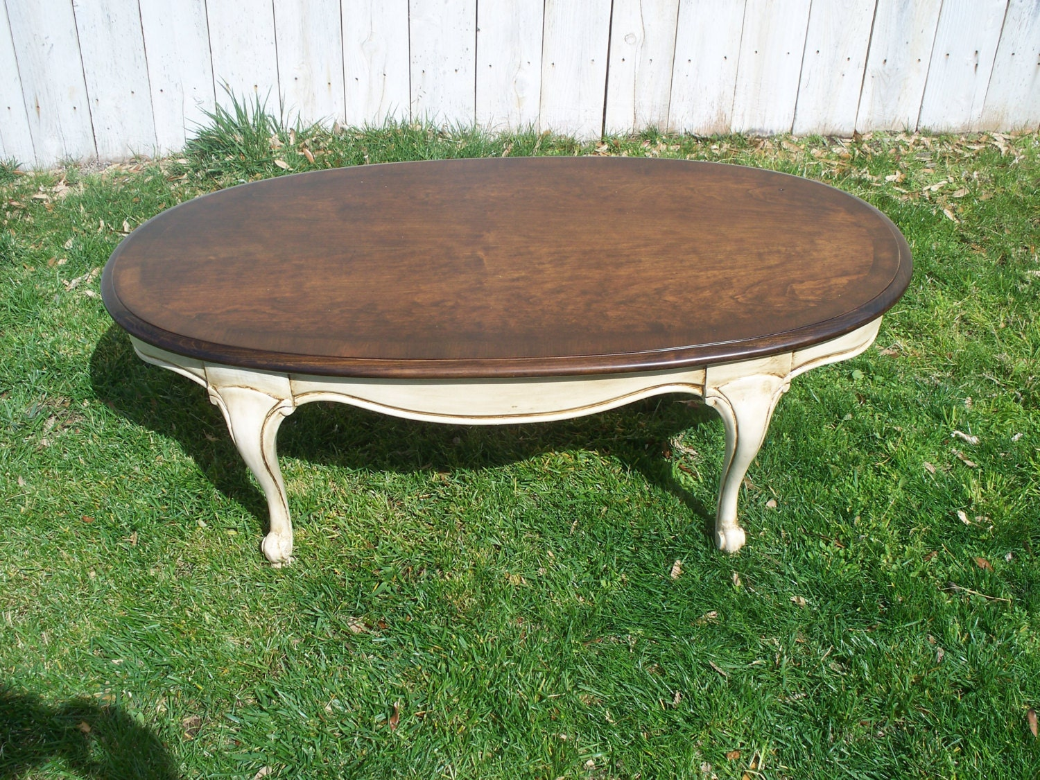 Painted oval lane coffee table for Coffee tables painted