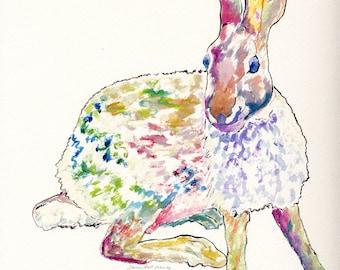 "Original Acrylic Rabbit Painting, 9"" X 12"", Animal Painting, Fun Colors, Impressionist Style, Children's Room"