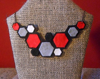 Hexagonal felt necklace, and bracelet