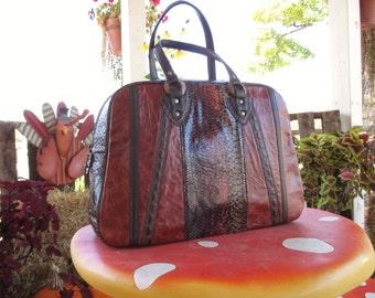 Large handbag, high range, hand-sewn and signed by a designer